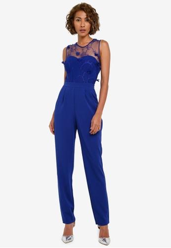 Goddiva blue Floral Embroidered Jumpsuit GO975AA0RUIIMY_1