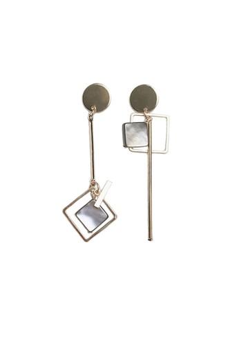 La Miina gold Domani Asymmetric Earrings 242FCAC5FE6A02GS_1