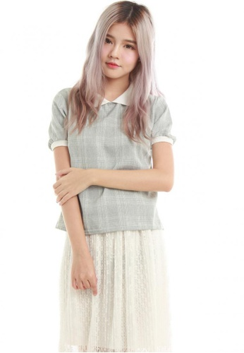 Sophialuv grey Annis Collar Shirt in Grey Checks 8E424AA95A2090GS_1