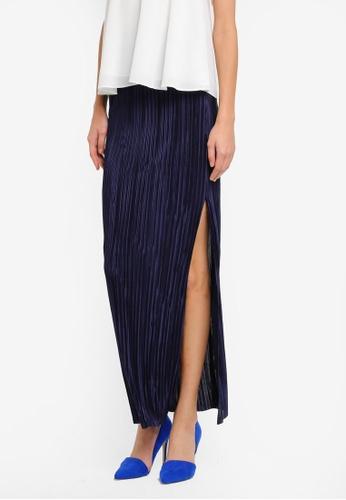 Miss Selfridge blue and navy Plisse Maxi Skirt MI665AA0SLEYMY_1