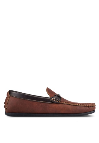 UniqTee brown Driving Moccasins With Hardware Detail UN097SH0S217MY_1