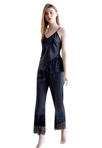 LYCKA black LCB2158-Lady Casual Pajamas Two Pieces Set-Black 3C565US9C84285GS_1