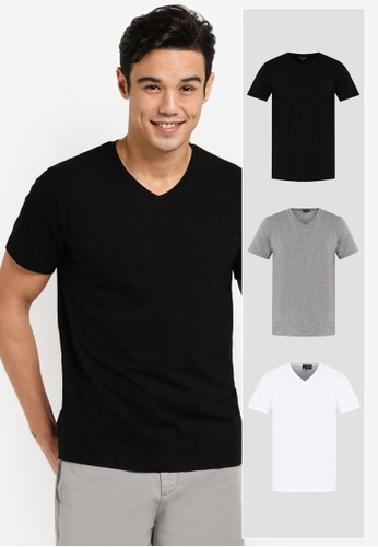 ZALORA black and grey and white 3 Pack Cotton V Neck Short Sleeve Tee ZA819AA30JIFMY_1
