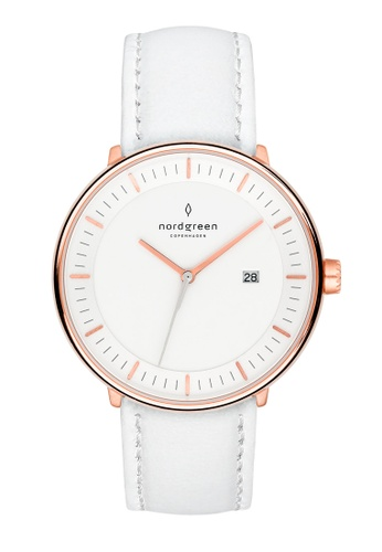 Nordgreen white and gold Nordgreen Philosopher Rose Gold 36 mm - Nordic White Leather Watch D0B2FACA9A80DAGS_1