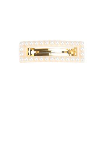 Glamorousky white Fashion Simple Hollow Geometric Rectangle Imitation Pearl Hair Slide 3F345AC8291ADDGS_1