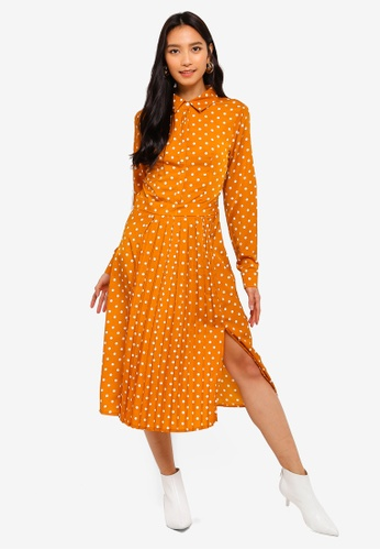 MISSGUIDED yellow Midi Polka Dot Shirt Dress BD0D7AA92DADD5GS_1