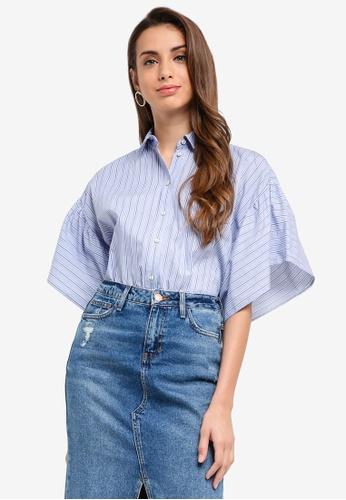 River Island blue Striped Frill Sleeve Shirt 34AC6AA69EBBFFGS_1