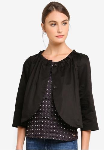 Armani Exchange black Ruched Neckline Jacket 0DE59AAF299011GS_1