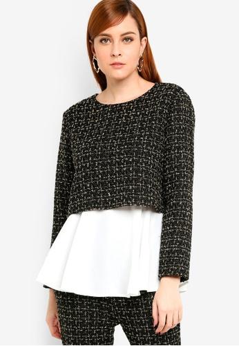 Zalia black Tweed Layered Top DCB3DAAB029906GS_1