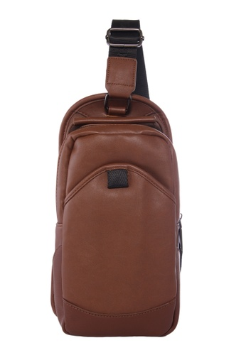 KRIZO brown LEXQ Men's Shoulder Sling Chest Pouch Bag 845D2ACFB04688GS_1
