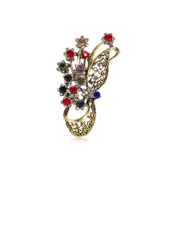 Glamorousky silver Fashion Vintage Plated Gold Hollow Flower Brooch with Cubic Zirconia 29BD7ACE156FCFGS_1