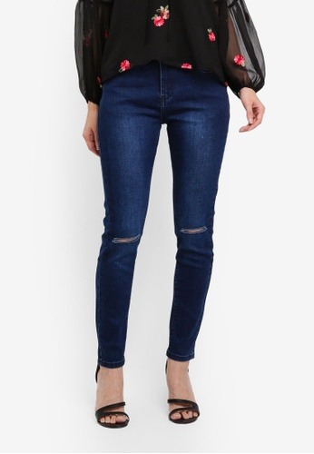 Something Borrowed blue Basic Slash Knee Skinny Jeans 70ACCAACEA4474GS_1