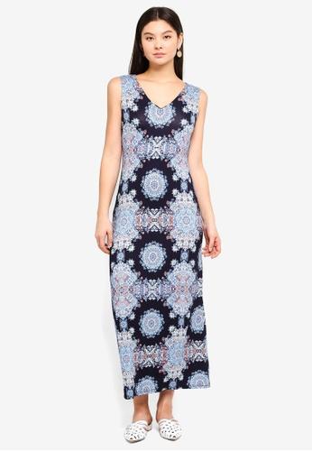 Wallis navy Petite Blue Mosaic Print Maxi Dress D61B3AA1767B1FGS_1
