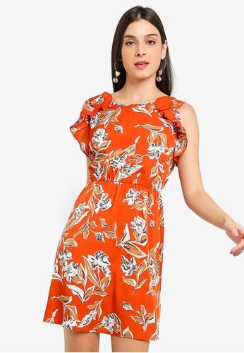 ZALORA 橘色 荷葉飾修身喇叭裙洋裝 24F1EAA80B4239GS_1