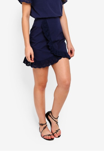 ZALORA navy Mini Skirt With Ruffles 6385AAA2DD3882GS_1
