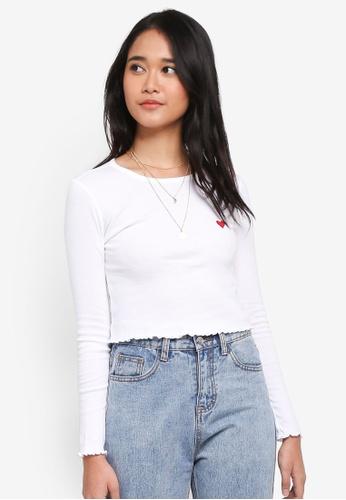 TOPSHOP white Petite Heart Lettuce T-Shirt EC9A0AAD3600BFGS_1