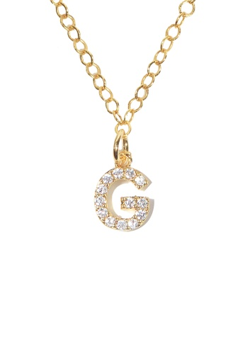 PSYNDROME gold Personalised Initial Letter Alphabet Cubic Zirconia Necklace - G 9AA55AC018E900GS_1