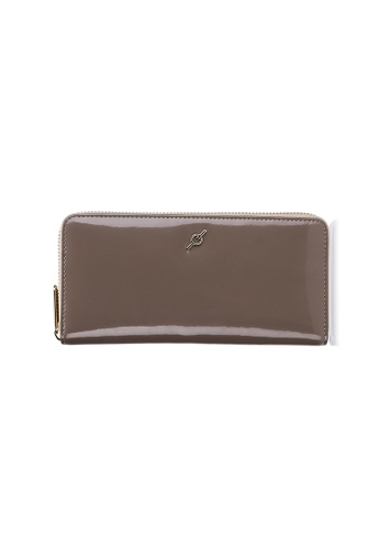 ENZODESIGN beige Patent Leather Standard Zip Around Long Wallet 2423EACE1A03CFGS_1