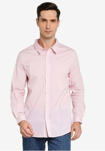 ZALORA BASICS red Solid Long Sleeve Collar Shirt 0754BAAFB08C53GS_1