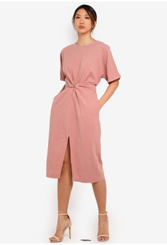 c2822bb4fae2 Cat in the bowl pink Knotted Waist Midi Dress 2F266AA9D256A2GS_1