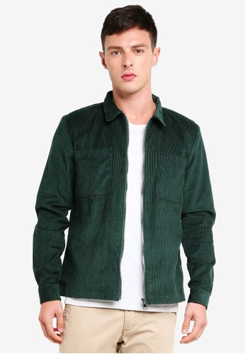 River Island green Corduroy Zip-Up Shacket 231F8AAC26C5D0GS_1