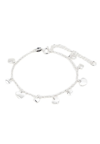 Silverworks silver Small and Big Heart Charms Bracelet SI696AC33HHEPH_1