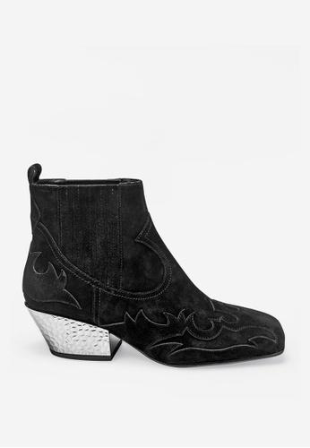 ASH 黑色 Ginger Bis - 黑色浮凸圖案靴 81B6FSH0B4817BGS_1