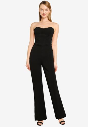 MISSGUIDED black Bandeau Skinny Leg Jumpsuit DE8CDAA4940A9DGS_1