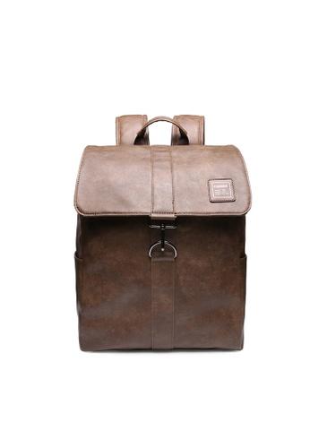 Lara brown Plain Flap Backpack - Brown 2F701ACCCDE002GS_1
