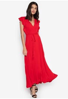 5701bb03310 Ashley Collection red Surplice Neckline High Slit Maxi Dress  26E94AAB61E882GS 1