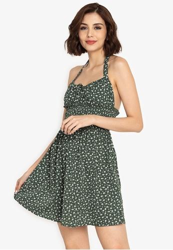 ZALORA BASICS multi Smocked Waist Halter Neck Dress 98B42AA07ACABDGS_1