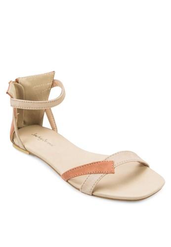 撞zalora taiwan 時尚購物網色麂皮繞踝平底涼鞋, 女鞋, 涼鞋