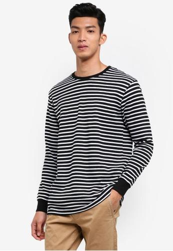 Cotton On 黑色 and 白色 長袖條紋T恤 E6BFCAA4723348GS_1