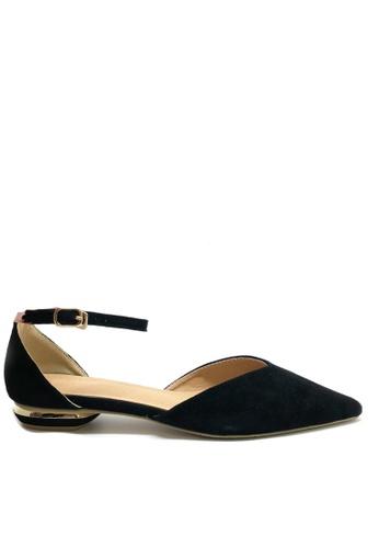 Twenty Eight Shoes black Synthetic Suede Ankle Strap Ballet Flats 049C8SH28CB6F9GS_1
