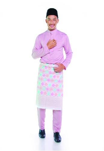 Khalifah by N pink and multi Baju Melayu Cekak Musang 2.0 Slim Dusty Pink 34188AAA8938B4GS_1