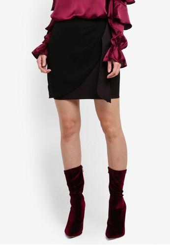 Preen & Proper black Sheer Front Overlap Mini Skirt PR614AA0SSM5MY_1