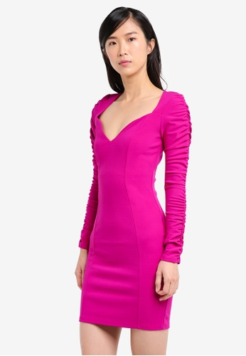 River Island pink Ruched Sleeve Bodycon Dress RI009AA0SRKEMY_1