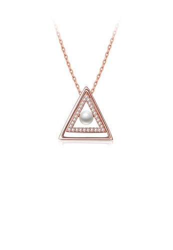Glamorousky white 925 Sterling Silver Rose Plated Gold Simple Triangle Pearl Pendant with Austrian Element Crystal and Necklace 9E16DACF3960ABGS_1