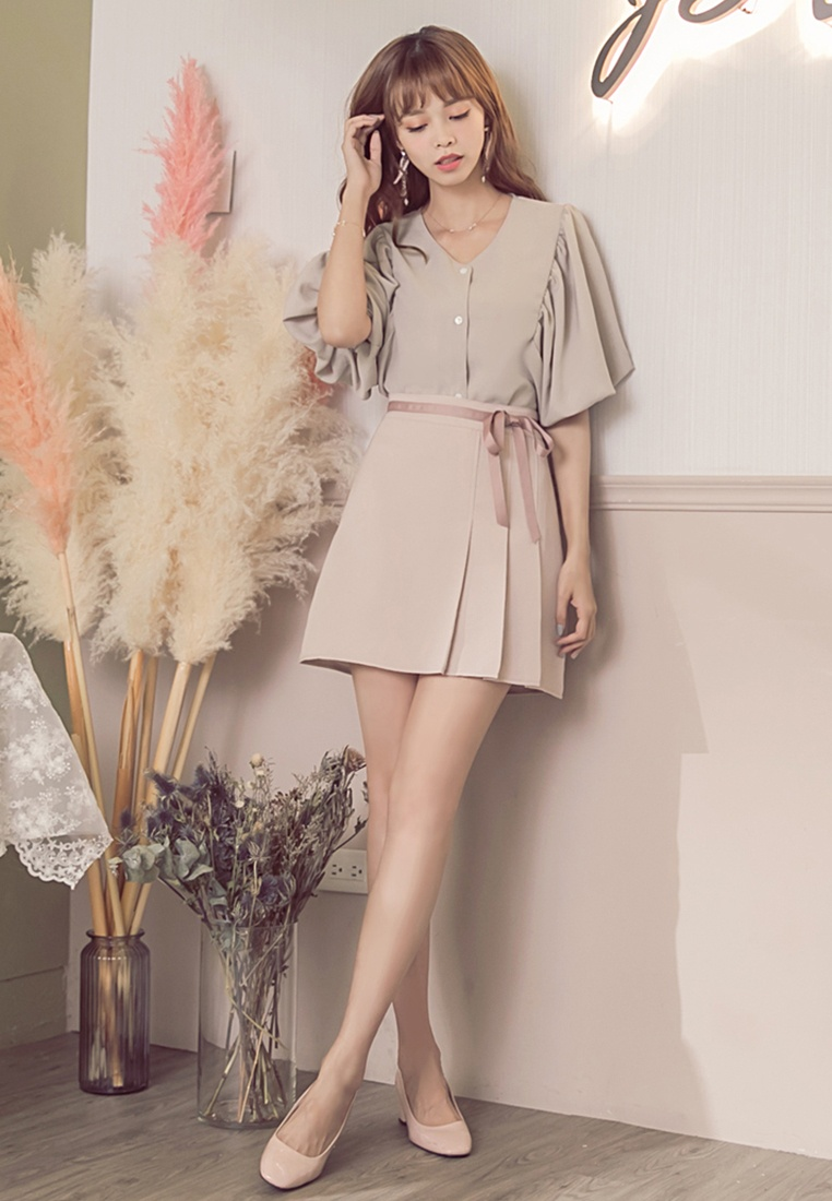 Short Yoco Sleeve Bell Front Button Top Apricot qxwRgPE
