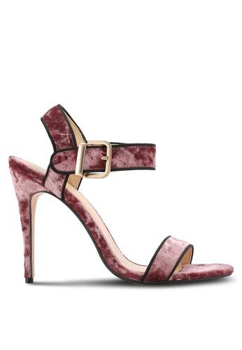ZALORA 粉紅色 Velvet Ankle Strap Sandal 82F12SH3771871GS_1