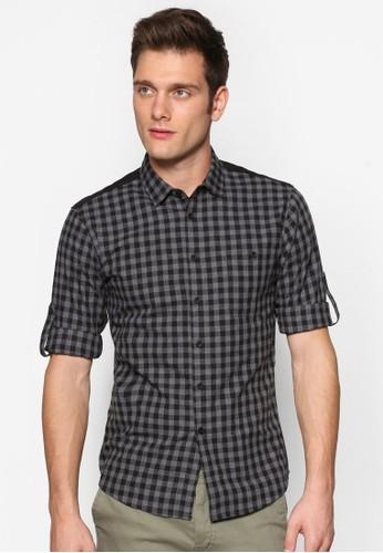 絎縫背細格紋zalora 包包評價長袖襯衫, 服飾, 印花襯衫