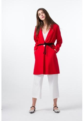 Les Premieres red Color Contrast Double Belt Coat 5B284AA51303FDGS_1