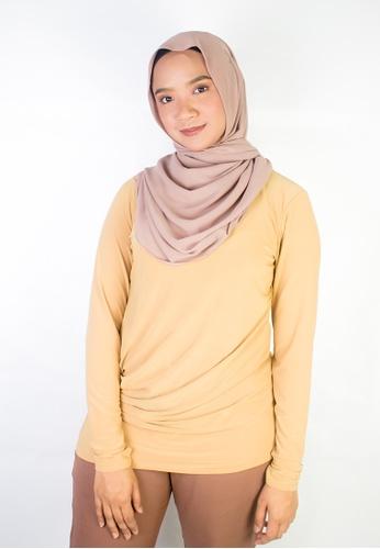Zaryluq yellow Drape Top in Golden Tan 4CB32AA7259853GS_1