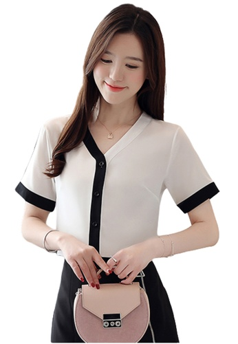 Halo white V Neck Color Blocked Blouse 776B6AAA42ADFEGS_1