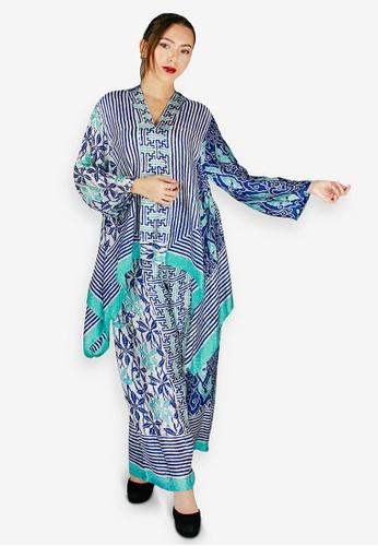 PANGOI blue and multi and navy PANGOI Exclusive Babyfly Viscose Batik Modern Muslimah Wear 58BC8AA837B727GS_1