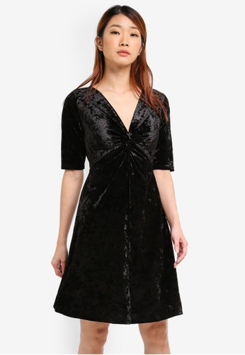 Dorothy Perkins black Velvet Fit And Flare Dress DO816AA0SRDNMY_1
