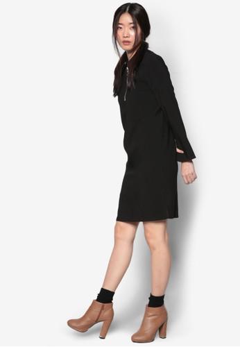 韓系時尚圓環飾zalora 衣服評價襯衫領連身裙, 服飾, 洋裝
