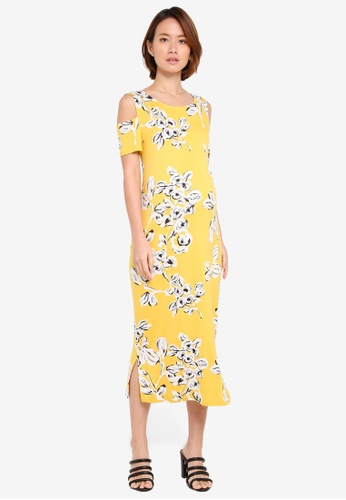 JoJo Maman Bébé yellow Maternity Floral Midi Dress F34BDAAE4CC01BGS_1