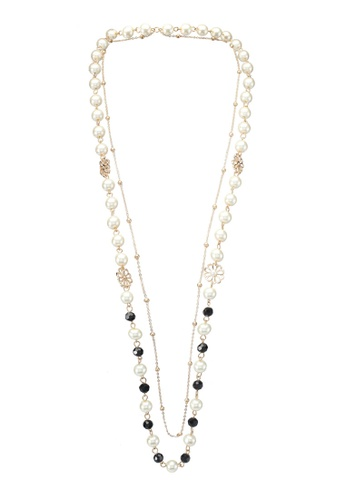 Red's Revenge black and gold Daisy Charm Crystal & Pearl Long Necklace RE144AC0SSTQMY_1