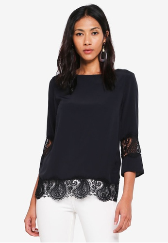 4e7df6792e21c4 Buy Dorothy Perkins Black Lace Hem Top Online on ZALORA Singapore